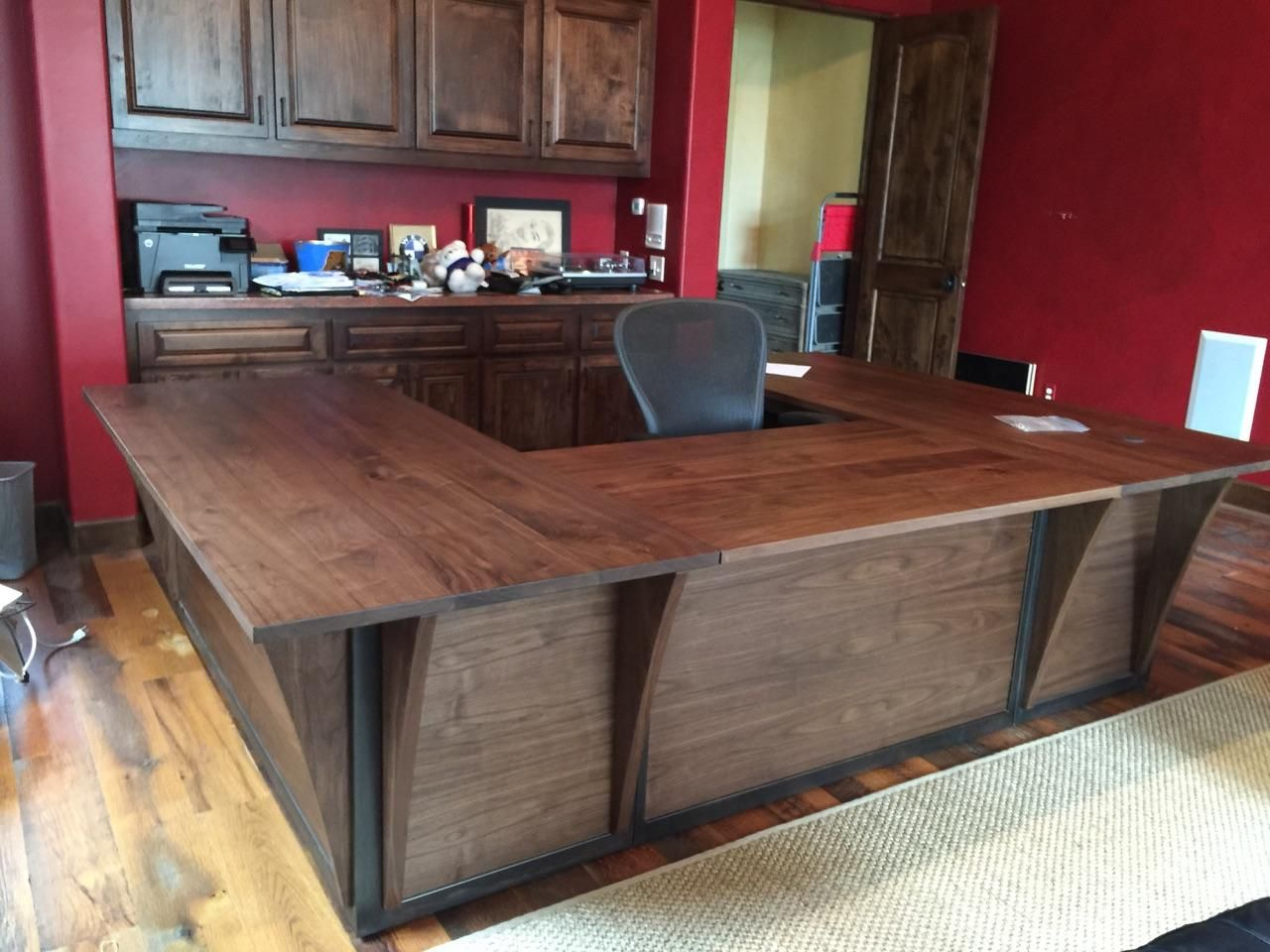 Custom steel and walnut contemporary desk workstation by puddle town woodworking - Custom office desk ...