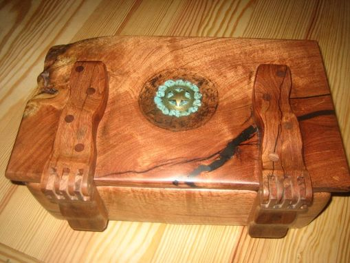 Custom Made Mesquite Wood Box With Wooden Hinges.