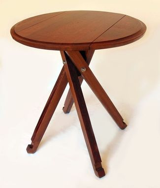 Custom Made The Windmill, Four Legs Drop Leaf Bistro Table, Recycled Oak Wine Barrel