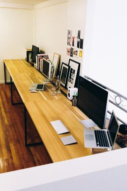 Custom Made Superdesk - 17'+ Poplar Desk With Custom Iron Design