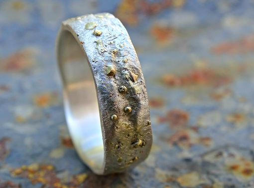 Custom Made Celtic Wedding Ring Men, Silver Gold Wedding Band Unisex, Molten Surface Ring