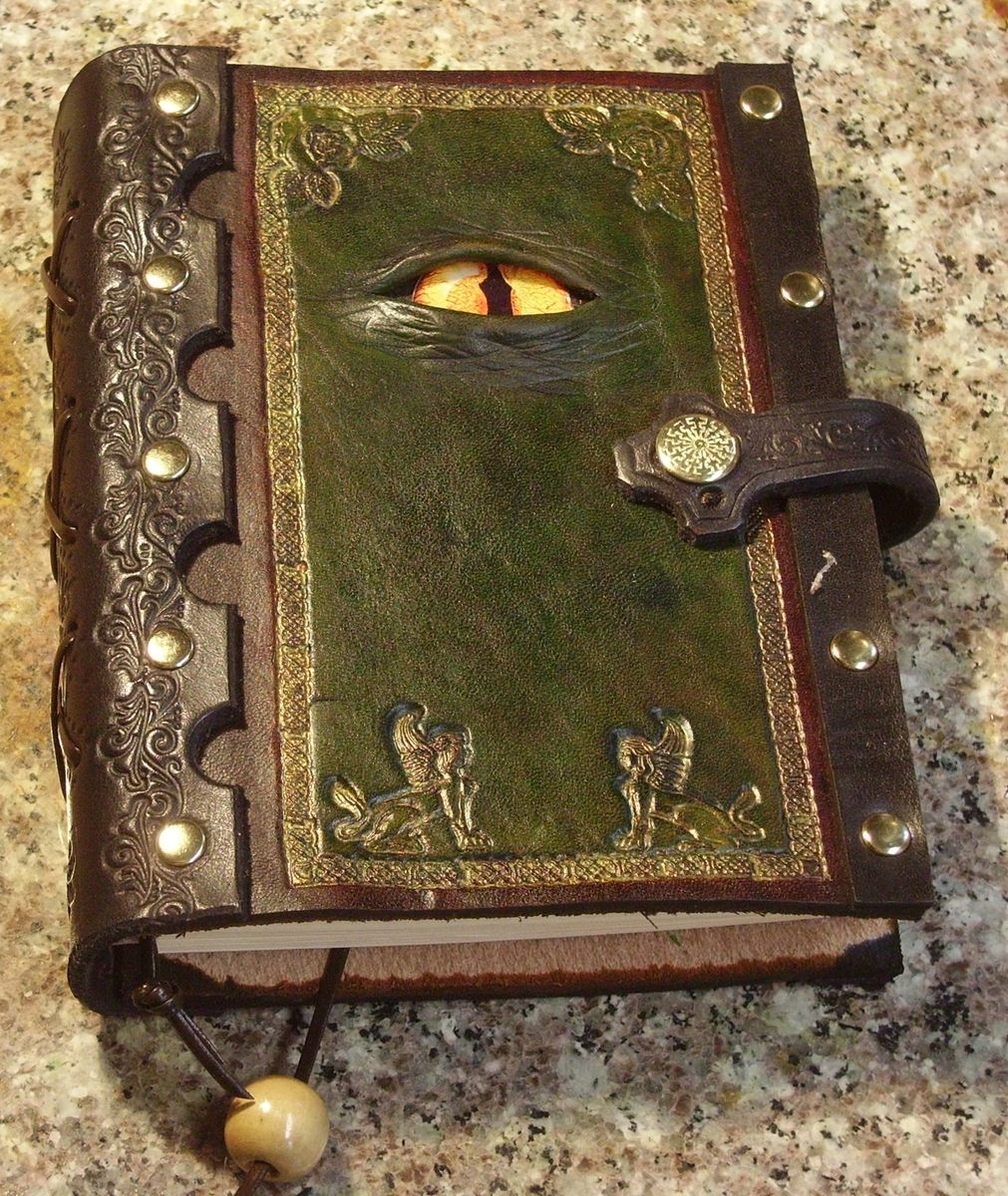 Handmade Story Book Cover : Handmade hand tooled leather journal with a reptilian