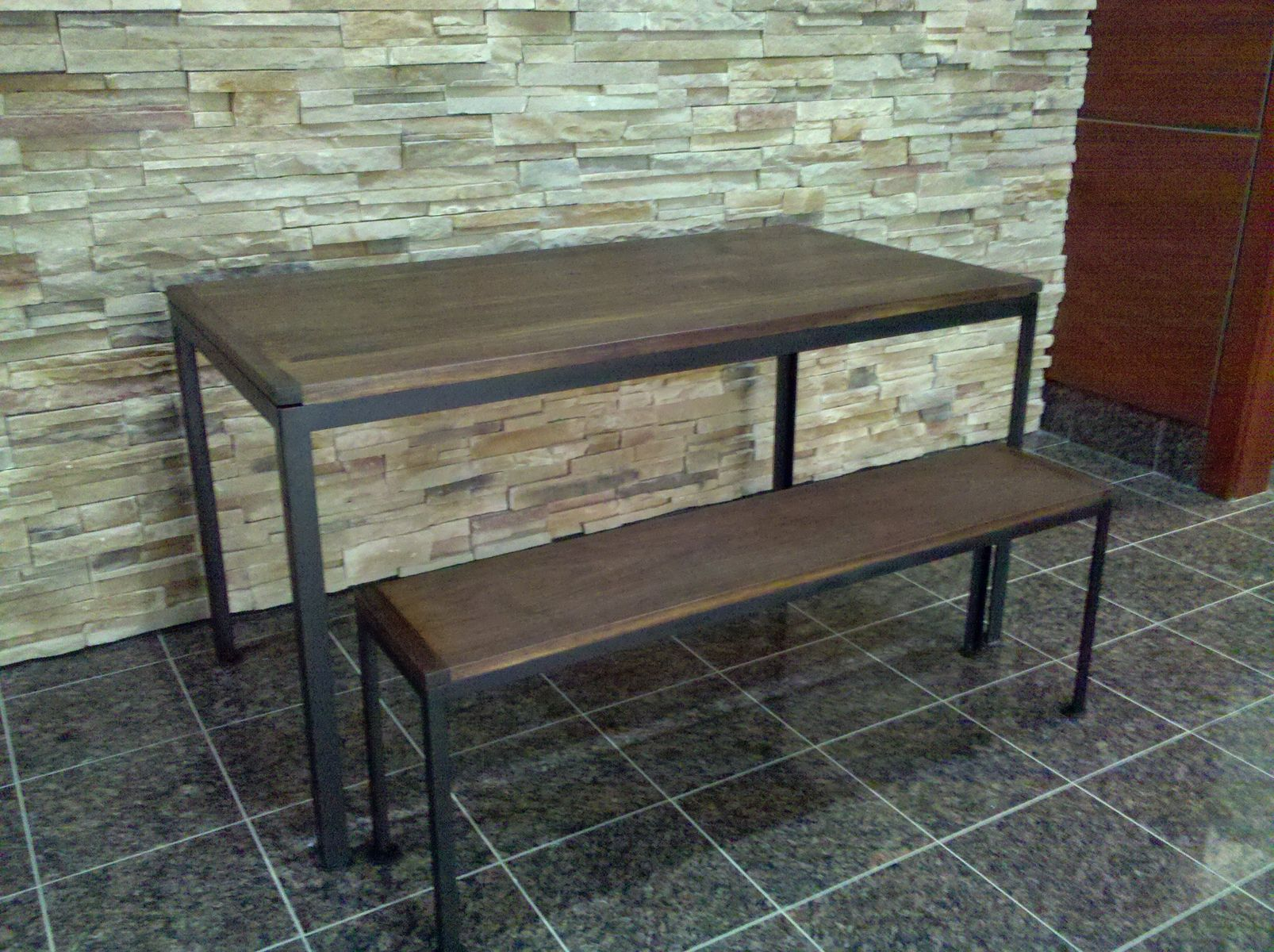 Hand Made Reclaimed Walnut Table And Bench With Metal Base