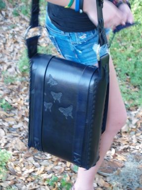 Custom Made Messenger Bag Black And Blue With Butterfly's
