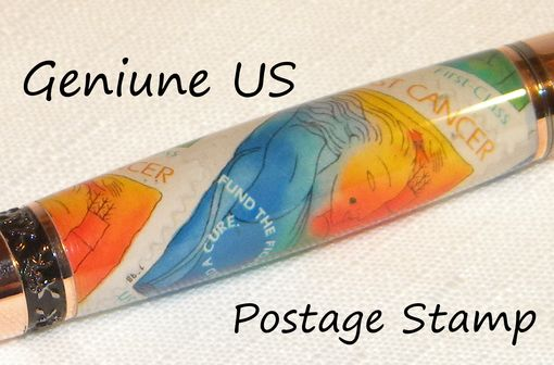 Custom Made Handcrafted Breast Cancer Us Postage Stamp Twist Pen