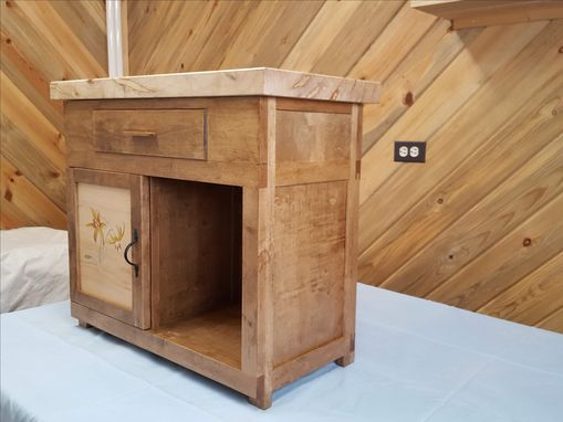 Custom Made Spalted Maple Accent Cabinet With Marquetry