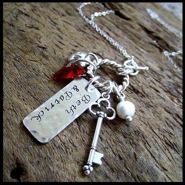 Custom Made Key To Love Family Hand Stamped Charm Cluster Necklace