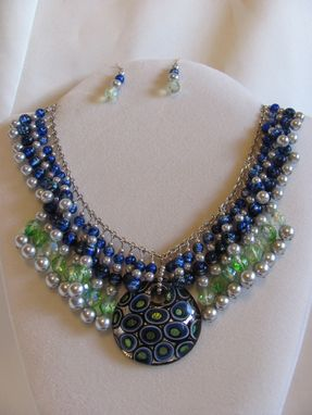 Custom Made Blue, Green & Silver Dichroic Glass Statement Necklace