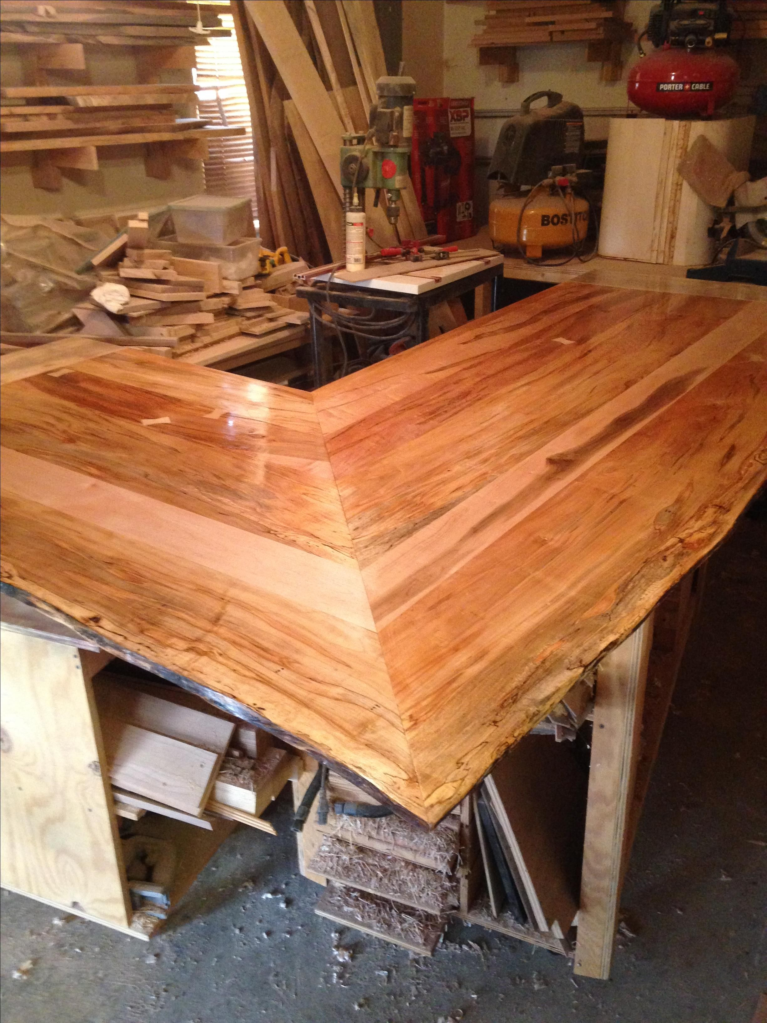Handmade solid ambrosia wormy maple bar counter top by