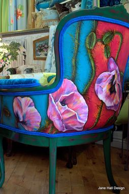 Custom Made Pair Of Hand Painted And Upholstered Vintage Carved Arm Chairs