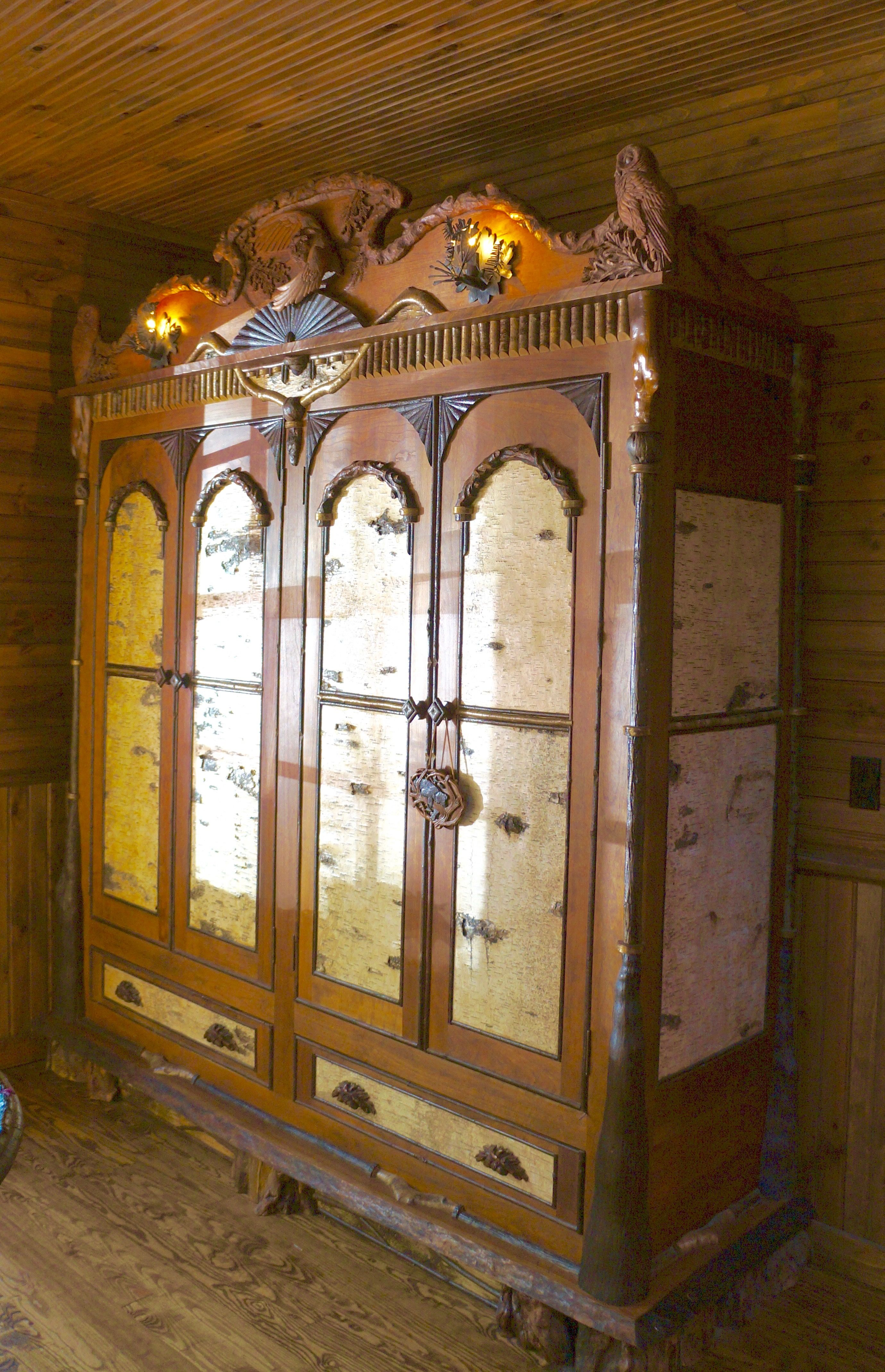 Hand crafted adirondack rustic armoire cabinet with owl - Adirondack style bedroom furniture ...