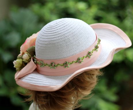 Custom Made Wide Brim White Straw Summer Peach Flowered Hat  For Weddings And Special Ocassions