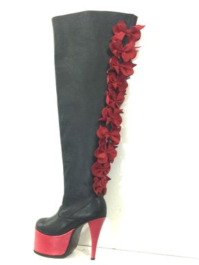 Custom Made Thigh High Boots 10 Red Bow At Back Boots, Red Platform And Stiletto Heels