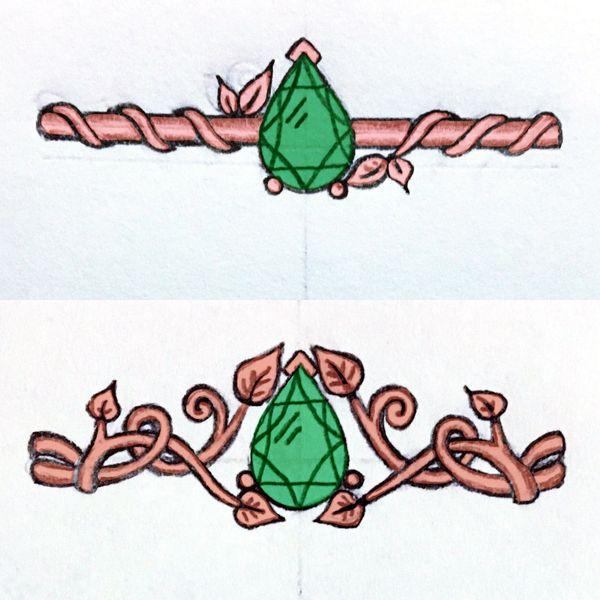 Sketches for a leafy, nature-inspired rose gold ring with a pear cut emerald center stone.