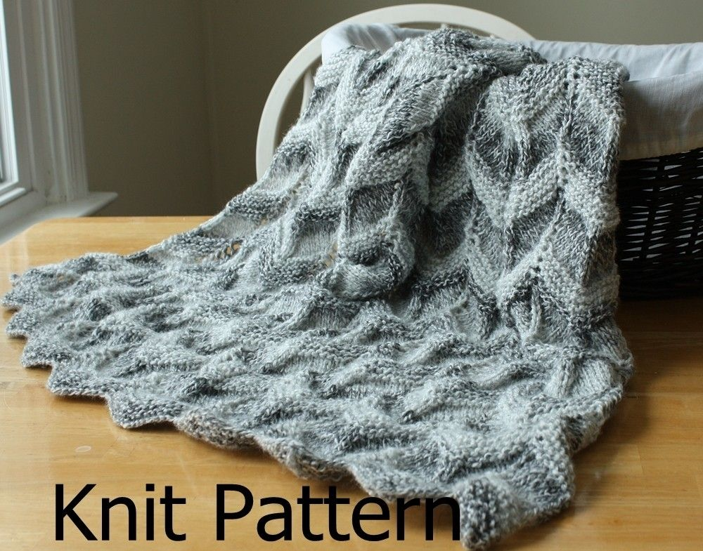 Easy Knitting Patterns For Baby Blankets For Beginners : Custom knit baby blanket pattern easy ripple chevron by