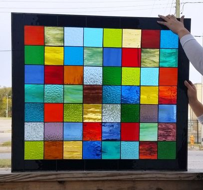 "Custom Made Stained Glass Panel With Wood Stands / ""Patch Work Quilt 3"" (P-45)"