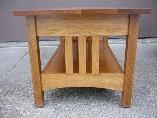 Custom Made Quartersawn Oak Mission Style Coffee Table And End Table