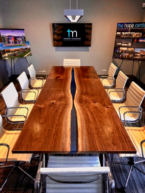 "Custom Made The ""This Could've Been An Email, Bob"" - Walnut, Resin & Steel Conference Table"