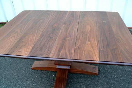 Custom Made Walnut Extension Table With French Country Style Pedestal Base