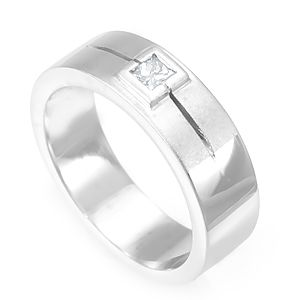 Custom Made Single Diamond Wedding Band In 14k White Gold, Wedding Ring, Promise Ring