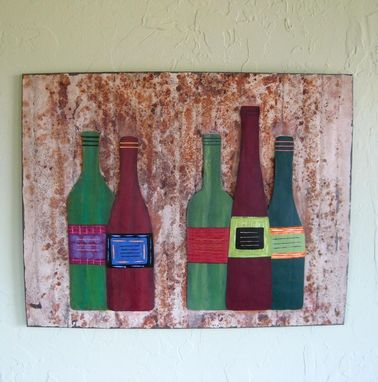 Custom Made Handmade Upcycled Metal Wine Cellar Wall Art Sculpture