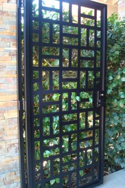 Custom Made Contemporary Metal Gate Walk Thru Iron Garden Estate Modern Ornamental