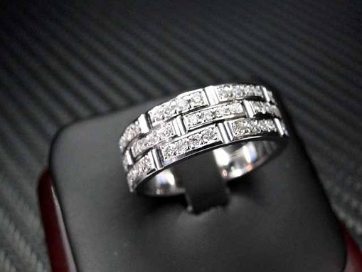 Mens Gold Wedding Ring With  Diamonds