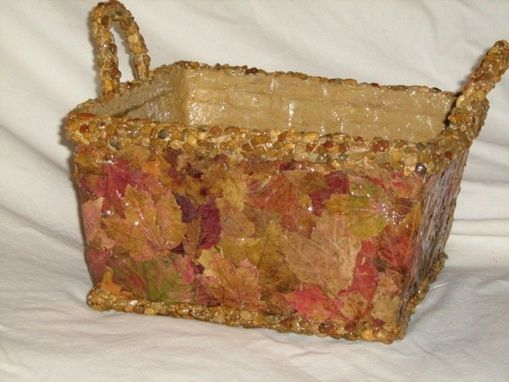 Custom Made Patchwork Pressed Maple Leaf Vase And Baskets