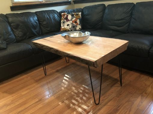 Custom Made Live Edge Red Oak Coffee Table With Black Walnut Bowtie