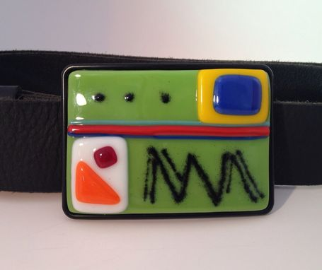 Custom Made Retro Green Fused Glass Belt Buckle