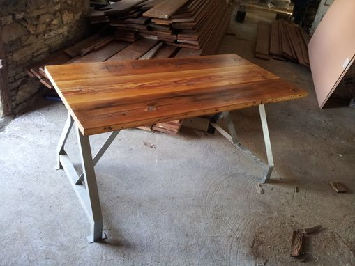 Custom Made Factory Work Table With Industrial Metal Base And Made From Reclaimed Wood Plank Top
