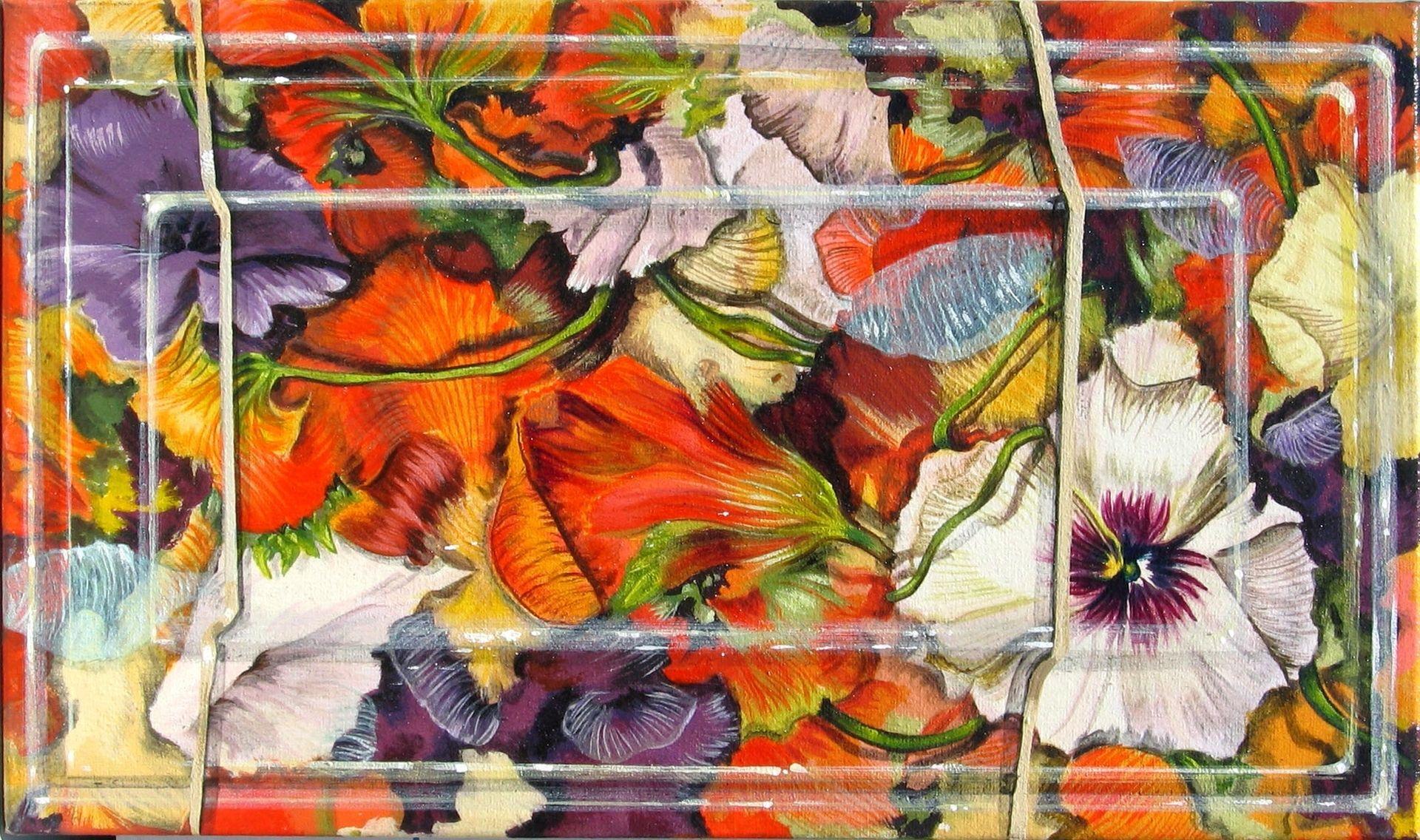 Custom Trompe L Oeil Painting Of Edible Salad Flowers With