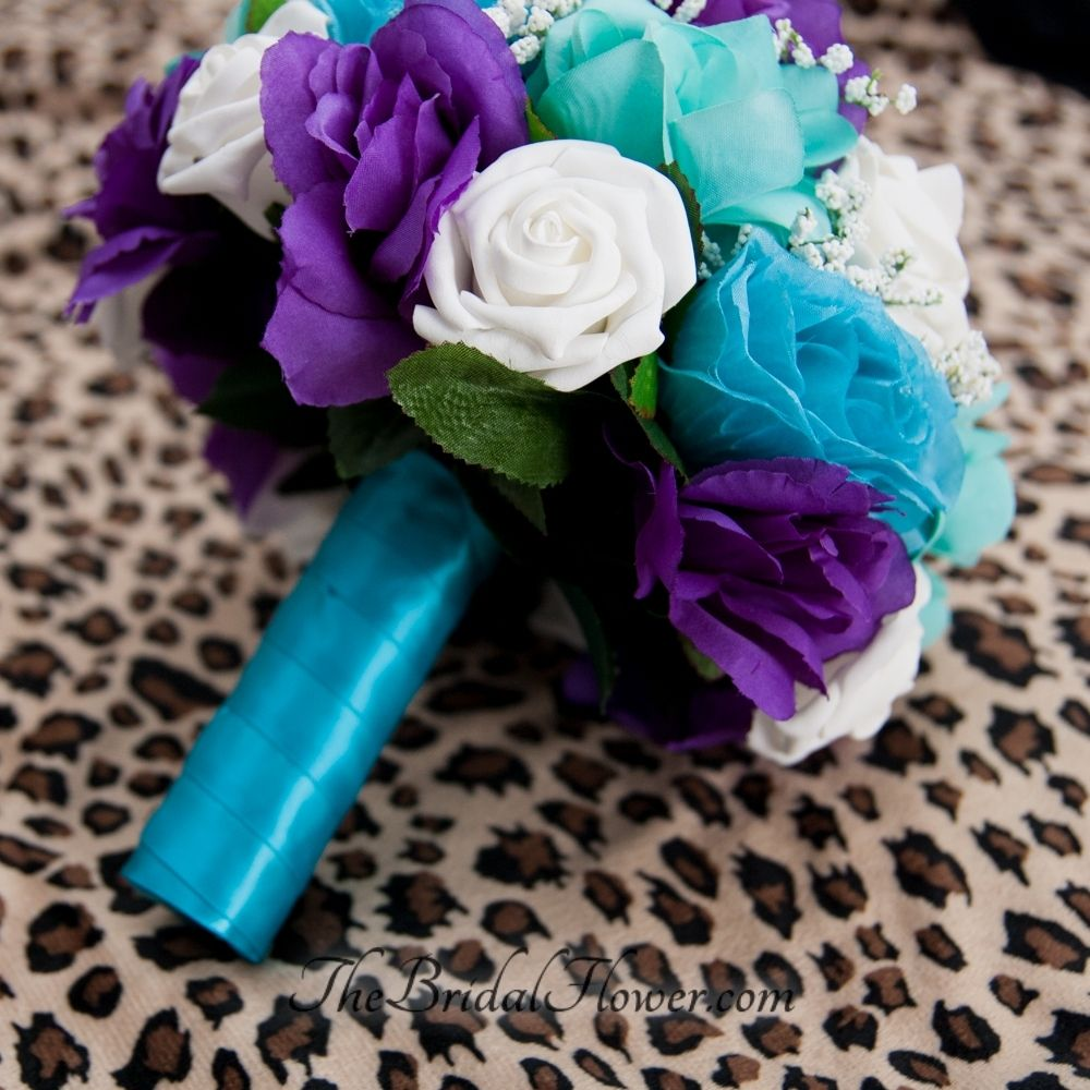 Hand Made Purple Turquoise And Aqua Teal Tiffany Blue Round Bridal Bouquet With Malibu Handle By The Flower Custommade