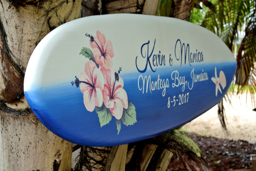 Custom Made Beach Wedding Guestbook Hibiscus Sign, Tropical Jamaica Wedding Decor