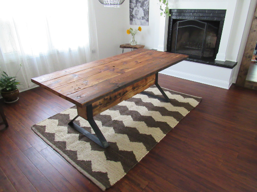 Handmade Industrial Trestle Reclaimed Wood Dining Table By