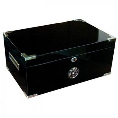 Custom Made Dakota 120 Count Black Cigar Humidor