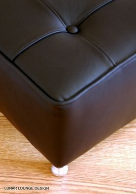 Custom Made Bokz Button Top Leather Sofa Bench Mid Century Modern Furniture Design