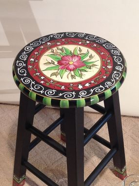 "Custom Made 24"" Hand Painted Custom Round Top Wooden Bar Stool - Counter Stool - Chair"