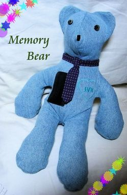 "Custom Made 10"" Memorial Memories Bear ""Blue Jeans"""