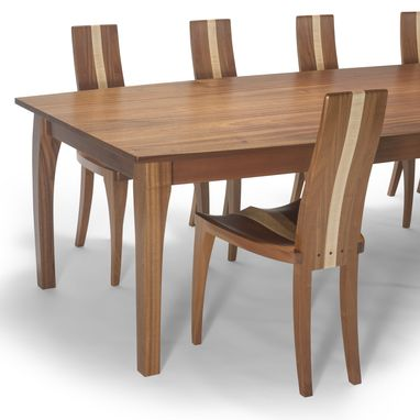 Custom Made Dining Set, Oval Dining Set, Solid Wood Dining Set, Mahogany, Curly Maple Boat Shape Top