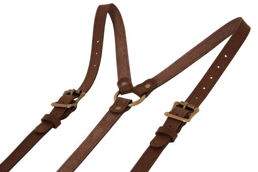 Custom Made Dark Brown Leather Suspenders