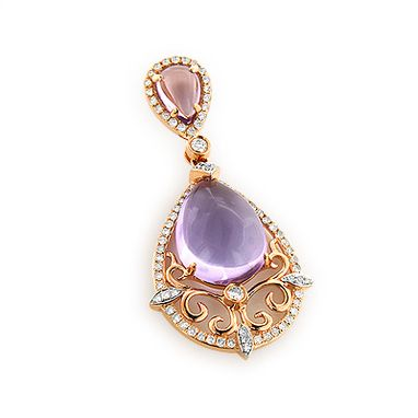Custom Made Purple Topaz Diamond Pendant