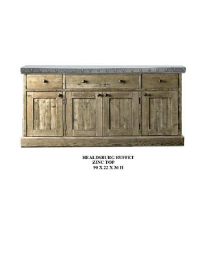 "Custom Made 90"" Buffet. Zinc Top"
