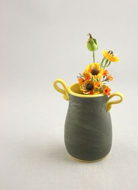 Custom Made Small Ceramic Flower Vase In Graphite Gray And Yellow