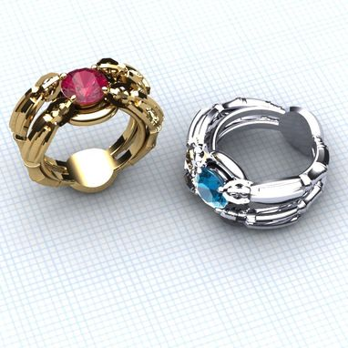 Custom Made Quad Super Sonic Solitare Ring- Gents