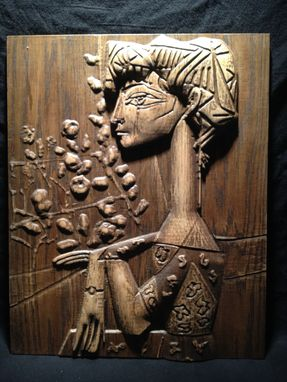Custom Made Picasso Carved Wood Art