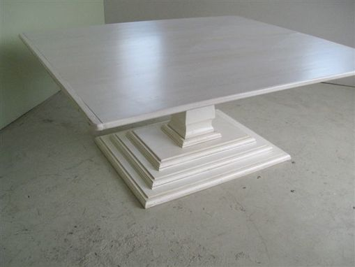 hand made square dining table pedestal base by ecustomfinishes