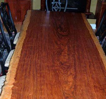 Custom Made Live Edge Bubinga Dining Table