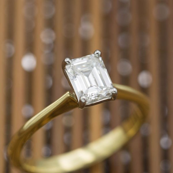 An emerald cut diamond is the most popular example of a step cut, showcasing elegant geometry with more subdued sparkle.