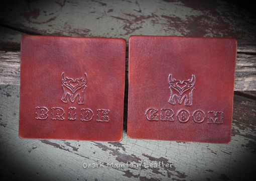 Custom Made Custom Leather Coasters Pick Color And Name To Be Placed On The Front